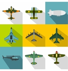 Military air transport icons set flat style vector