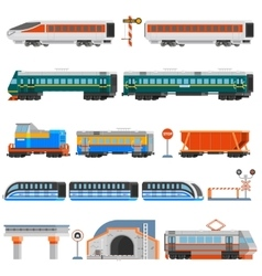 Rail transport flat colorful icons set vector