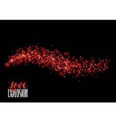 Red heart valentines day background with sparkles vector
