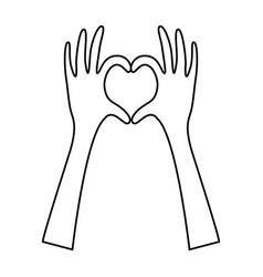 silhouette hands forming heart icon flat vector image