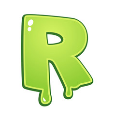Slimy font type letter r vector