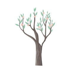 Tree in blossom with beautiful flowers vector