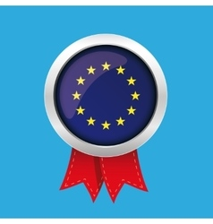 Eu badge with red ribbon vector
