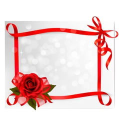 Valentines day background red rose with gift red vector