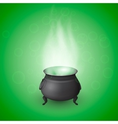 Cartoon halloween witch cauldron with potion vector