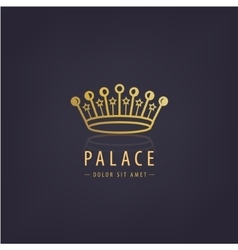 Golden crown linear logo vector