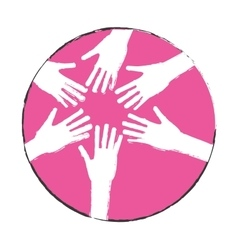Emblem hands of women together icon image vector