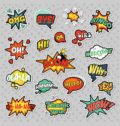Pop art comic speech bubbles set vector
