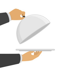 hand opening silver cloche vector image