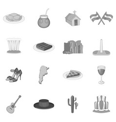 argentina travel icons set monochrome vector image