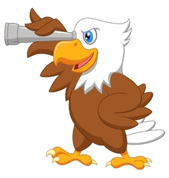 Eagle cartoon watching vector