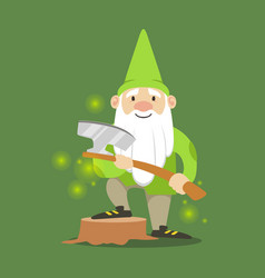 Cute dwarf in a green jacket and hat standing with vector