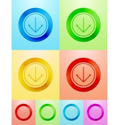 Flat circle button design vector