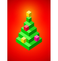 Christmas tree made of 3d pixels vector