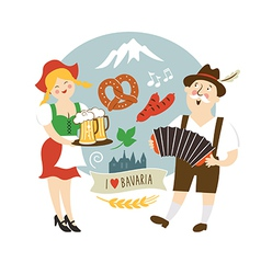man and woman in the Bavarian national dress vector image