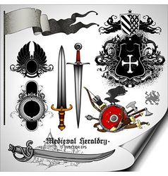 Set of heraldic elements vector