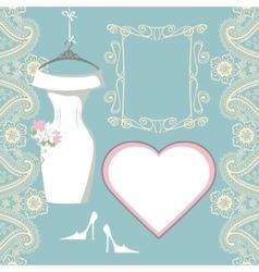 Wedding bridal dress with paisley border label vector
