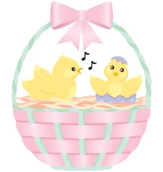 Two chicks in an easter basket vector