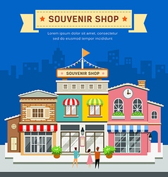 Souvenir shop on blue background vector