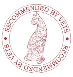 Stamp recommended by vets with cat vector