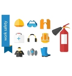 Set of flat icons for safety work vector