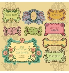Set of ornate vintage labels vintage border pack vector