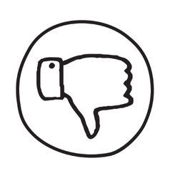 Doodle thumbs down icon vector