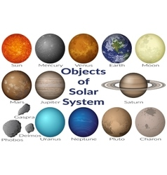 Space objects of solar system set vector