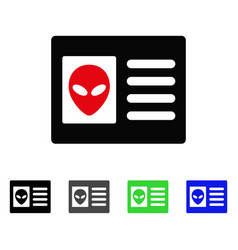 Alien account card flat icon vector