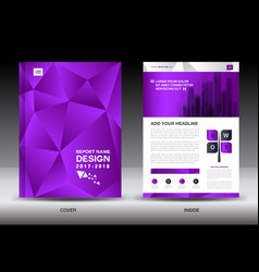 Annual report brochure flyer templatepurple cover vector