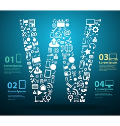 Application icons alphabet letters w design vector