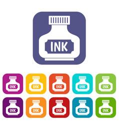 Black ink bottle icons set flat vector