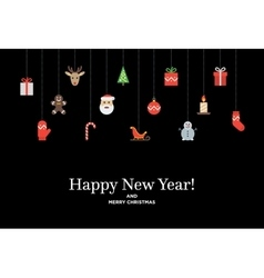 Christmas set of icons and elements tree deer vector image vector image