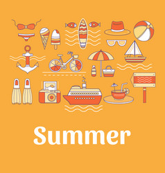 Collection of summer icons vector