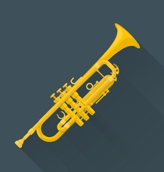 color flat style trumpet vector image