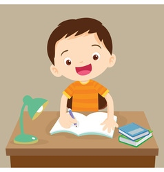 cute boy working on homework vector image