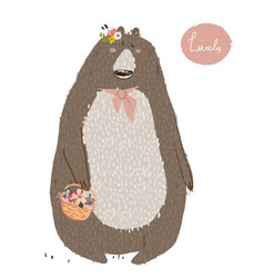 cute summer bear vector image vector image