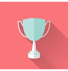 Flat award cup icon vector