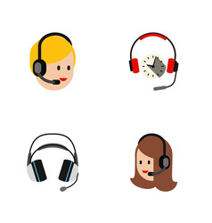 Flat call set of earphone headphone call center vector