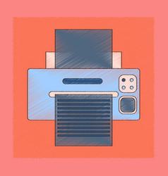 Flat shading style icon computer printer vector