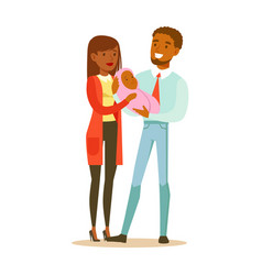 Happy young mother and father holding newborn vector