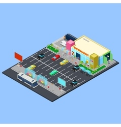Isometric City Supermarket Building vector image