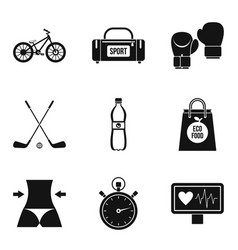 obesity icons set simple style vector image
