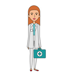 Professional woman of health with medical kit vector