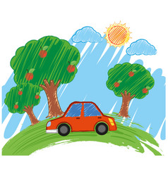 Scene with red car in the park vector