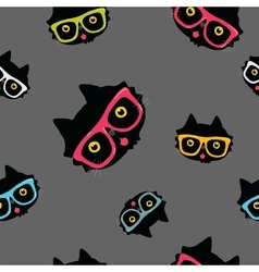 Seamless pattern with cat in hipster glasses vector