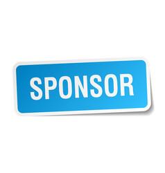 Sponsor blue square sticker isolated on white vector