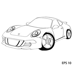 Sports car the porsche 911 vector