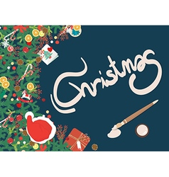 Top view Christmas decoration copyspace vector image