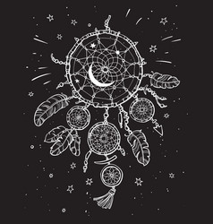 white dream catcher on the black night sky vector image